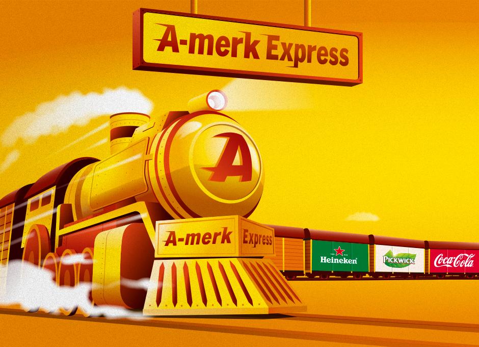 Voor Albert Heijn heb ik illustraties gemaakt voor de A-merk Express campagne. André Snoei freelance illustrator Grafisch ontwerp bureau Snoei Vormgeving